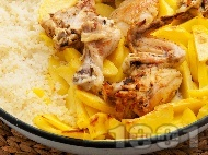 Печено пиле с ориз и картофи  на фурна